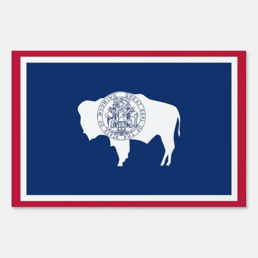 Yard Sign with flag of Wyoming, USA