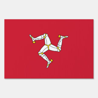 Yard Sign with Isle of Man flag, United Kingdom
