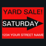 "Yard Sign - YARD SALE!<br><div class=""desc"">This eye-catching, yard sign is simple and straight to the point (no pun intended). The arrow on either side is in opposing directions to make sure that traffic going either way is shown the way to your event. Whether it&#39;s a yard sale, garage sale, flea market or other event, the...</div>"