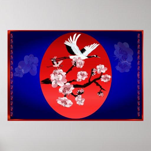 Yarda de la grúa y de Sun del vuelo (fondo azul de Posters