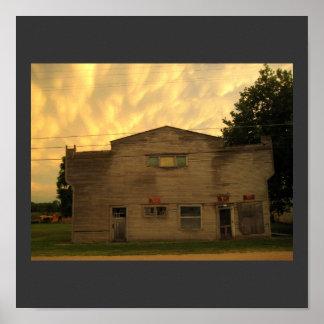 Yarda de madera de construcción rural de Nebraska Poster