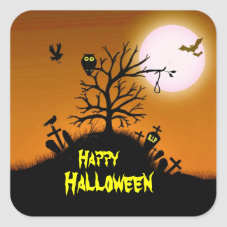 Yarda grave frecuentada Halloween decorativo Pegatina Cuadrada