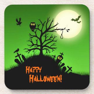 Yarda grave frecuentada Halloween decorativo Posavaso