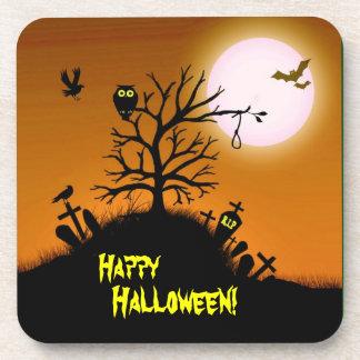 Yarda grave frecuentada Halloween decorativo Posavasos