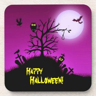 Yarda grave frecuentada Halloween decorativo Posavasos De Bebidas