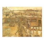 Yarda y lavadero, Van Gogh, arte de los carpintero Tarjeta Postal