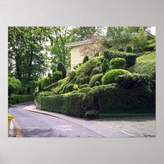 Yardas verdes de camino póster