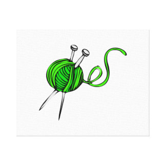 Yarn and Knitting Needles Gallery Wrapped Canvas