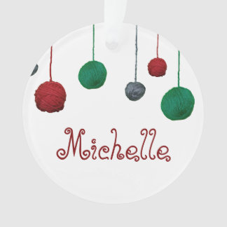 Yarn Ball Crafty Holiday / Your Text Ornament