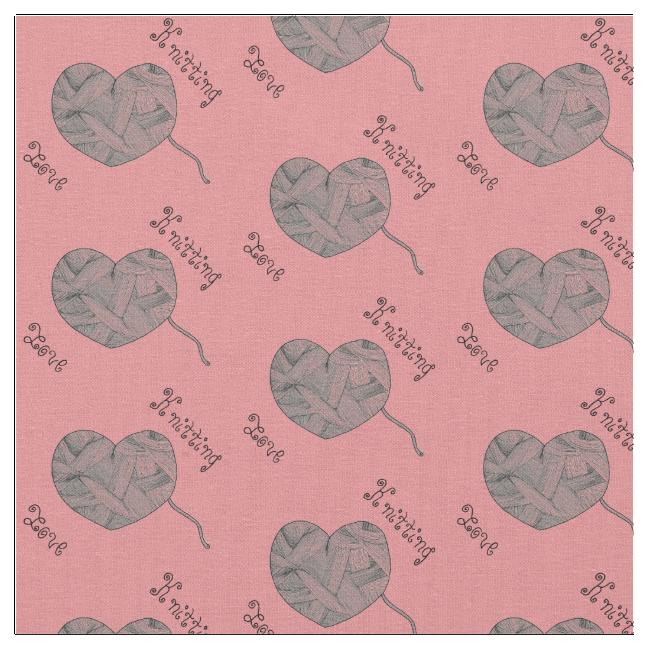 Yarn Ball Heart Knitting Love in Pink Fabric