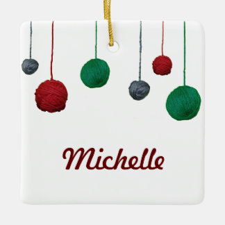 Yarn Ball / Name Crafty Holiday Square Ornament