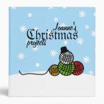 Yarn Ball Snowman Christmas Knit Crochet Binder