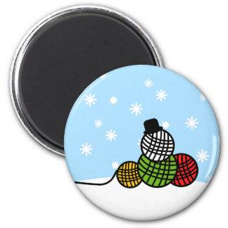 Yarn Ball Snowman Christmas Knit Crochet Magnet