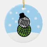 Yarn Ball Snowman Christmas Knit Crochet Ornament