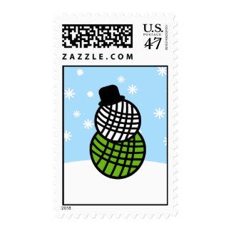 Yarn Ball Snowman Christmas Knit Crochet Postage