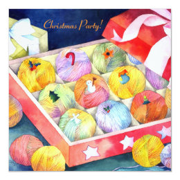 Yarn Balls Gift Box Christmas Party Invitation