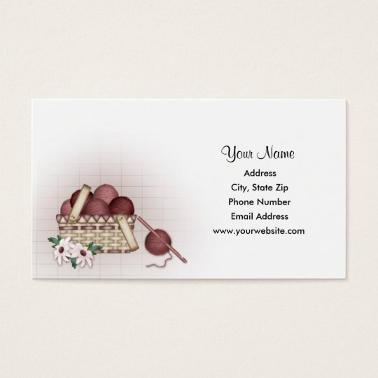 Knitting Logo Business Cards : Yarn basket crochet business cards zazzle