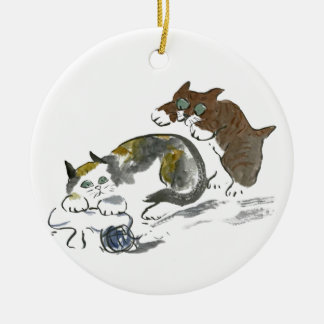 Yarn Battle with Kitten & Cat Ceramic Ornament