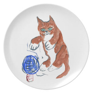 Yarn Bounce.... Wheee!!! Sumi-e in color Melamine Plate