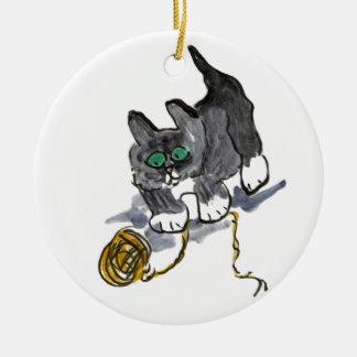 Yarn Hesitation by Nervous Kitten Ceramic Ornament