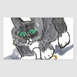 Yarn Hesitation by Nervous Kitten Rectangular Sticker