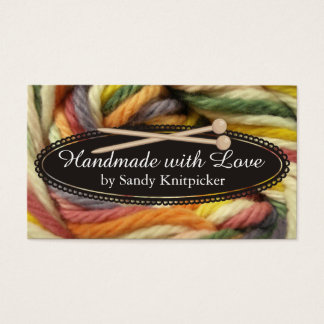 Yarn knitting needles crochet colorful yarn business card