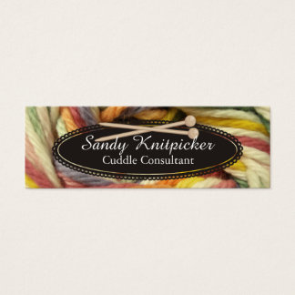 Yarn knitting needles crochet colorful yarn mini business card