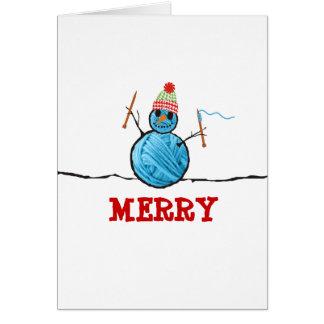 Yarn snowman knitting needles Christmas holiday Cards