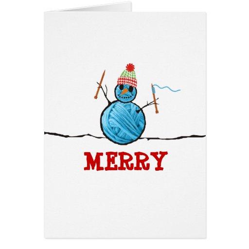 Knitting Birthday Card : Yarn snowman knitting needles christmas holiday card zazzle