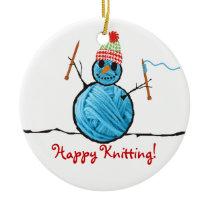 Yarn snowman knitting needles Christmas tree Ceramic Ornament