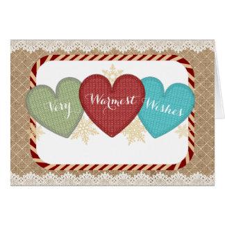 Yarn sweater hearts knitting crochet Christmas Card