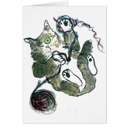 Yarn Tangle for Gray Tiger Kitten Card