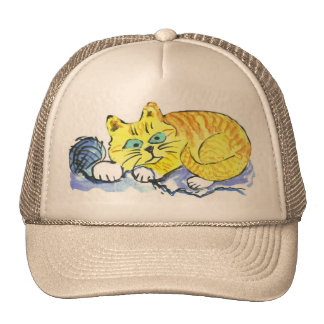 Yarn... What yarn? asks Tig -orange kitten Trucker Hat