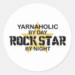 Yarnaholic Rock Star by Night Round Stickers