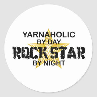 Yarnaholic Rock Star by Night Classic Round Sticker