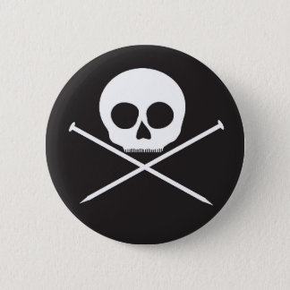 YarnCore Skull and Cross Needles Pinback Button