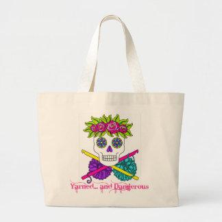 Yarned and Dangerous Sugar Skull in Color Large Tote Bag