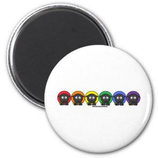 Yarnoholics Anonymous Fluffy Rainbow Sheep 2 Inch Round Magnet