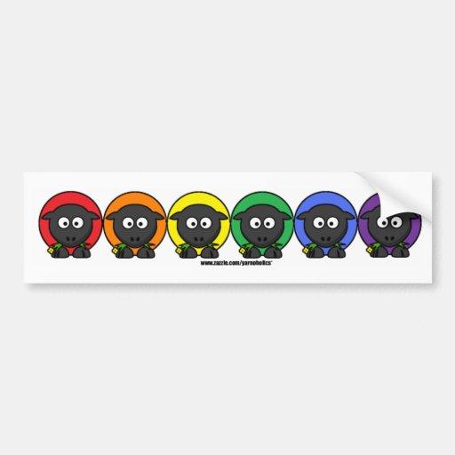 Yarnoholics Anonymous Fluffy Rainbow Sheep Bumper Stickers