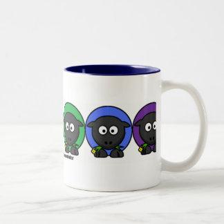 Yarnoholics Anonymous Fluffy Rainbow Sheep Two-Tone Coffee Mug