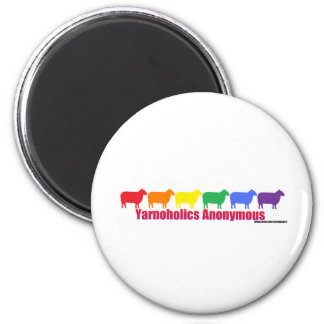 Yarnoholics Anonymous Rainbow Sheep 2 Inch Round Magnet