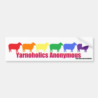 Yarnoholics Anonymous Rainbow Sheep Bumper Sticker
