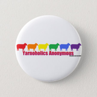 Yarnoholics Anonymous Rainbow Sheep Pinback Button
