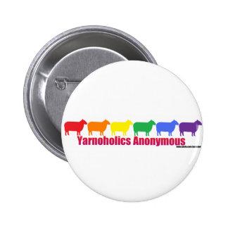 Yarnoholics Anonymous Rainbow Sheep Pinback Button