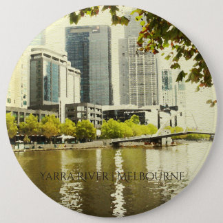 YARRA RIVER MELBOURNE PAINTING LEATHER MONOGRAM BUTTON