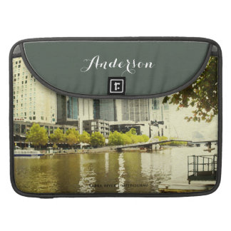 YARRA RIVER MELBOURNE PAINTING LEATHER MONOGRAM SLEEVE FOR MacBook PRO
