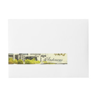 YARRA RIVER MELBOURNE PAINTING LEATHER MONOGRAM WRAP AROUND ADDRESS LABEL