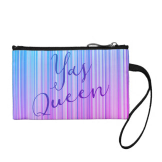 Yas Queen! Bright Colorful Striped Pattern Change Purse