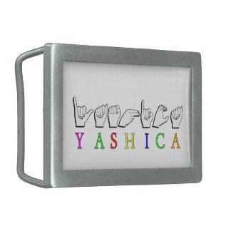 YASHICA  FINGERSPELLED NAME BELT BUCKLES