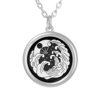 Yashima fan silver plated necklace